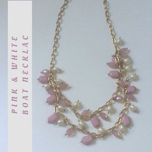 Gold, Pink, & White Statement Necklace