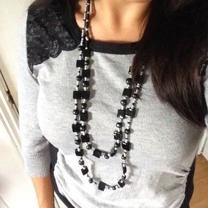🆕 2 layers black & silver necklace
