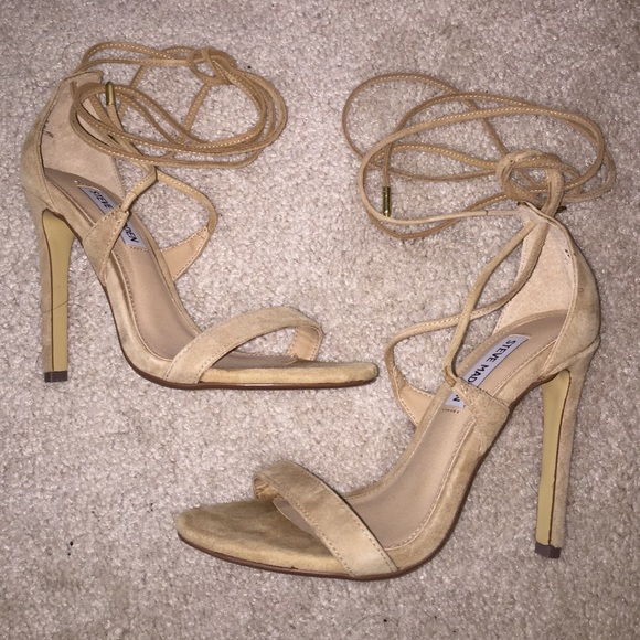 54706a66c67 Steve Madden Lace Up Nude Suede Sandals Heels