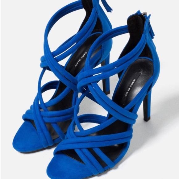 NWT Zara Criss Crosa Blue Open-Toe Heels