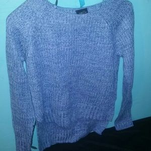 NWOT light blueish, periwinkle high low sweater