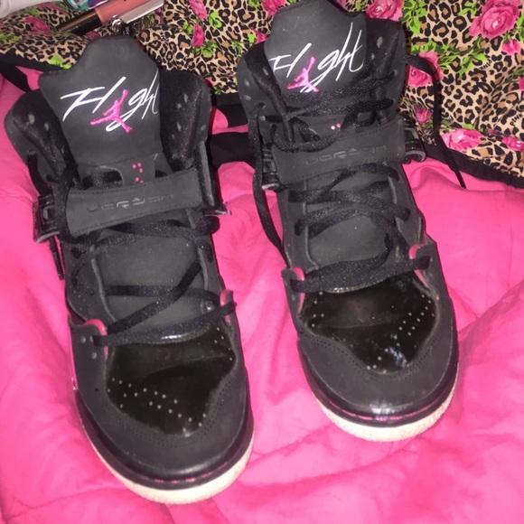 Jordans Shoes - Hot pink and black Jordan flights 1c0956c19025