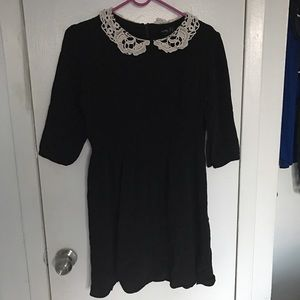 Asos Dresses & Skirts - Black skater dress with embroidered collar