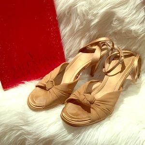 Valentino gold satin ankle strap heel platform