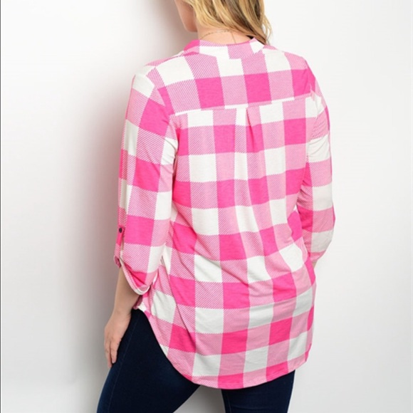 pink and white checkered plus size shirt 3x from keri