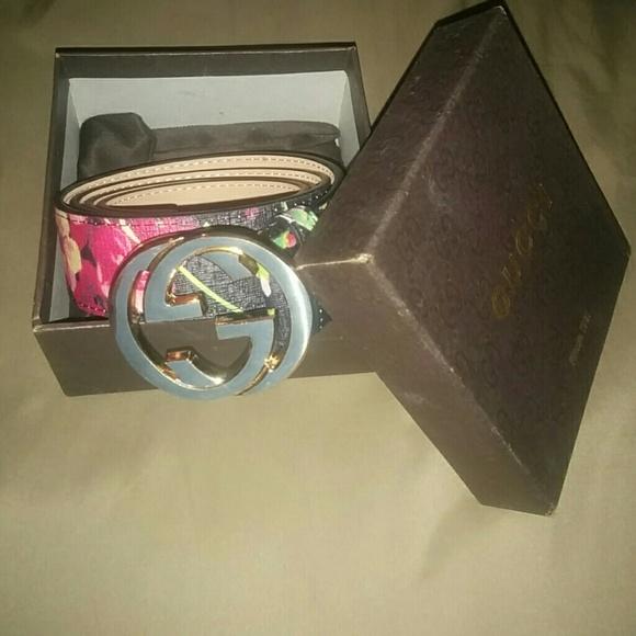 Gucci accessories flower print belt poshmark gucci flower print belt mightylinksfo