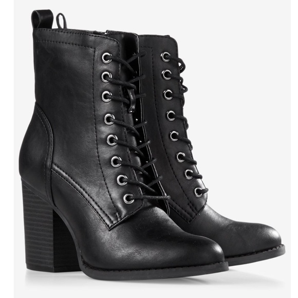 1700d44c38c4 Express Shoes - Express black lace up ankle heeled combat boots