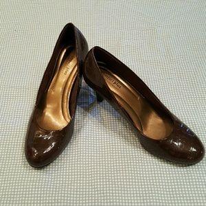 Shoes - Brown, snake print heels