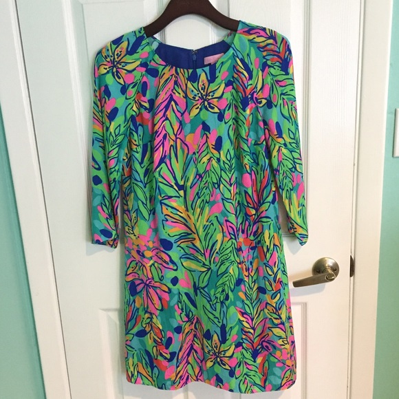 Lilly Pulitzer Carol Shift Dress Multi Hot Spot Women Size XS  New