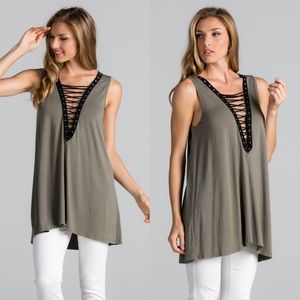 Bare Anthology Tops - Sleeveless Lace Up Tank Tunic Top