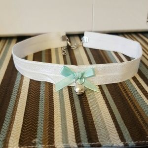 White Choker with Mint Green Bow