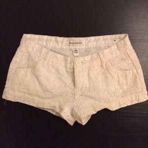 White eyelet Abercrombie shorts