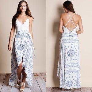 Crochet Backless Printed Maxi Dress