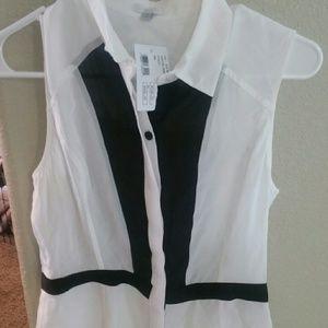 Intermix tuxedo blouse