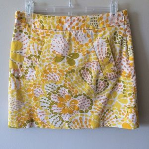 J.Crew Factory Green and Yellow Print Mini Skirt