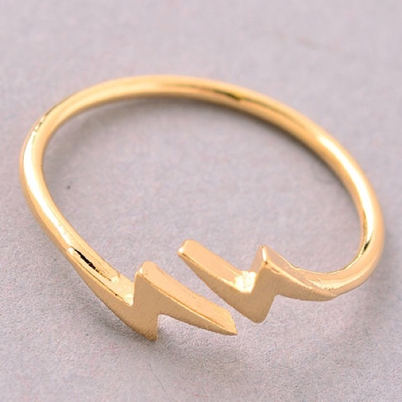 Relatively Jewelry | Nwt Delicate Brushed Gold Lightning Bolt Ring | Poshmark PF47