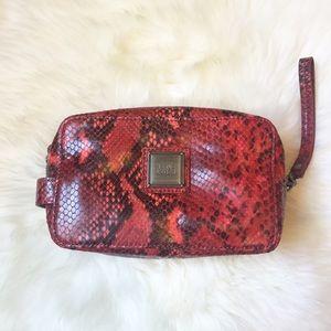 Herve Leger Handbags - Herve Leger Red Snakeskin Leather Makeup Bag