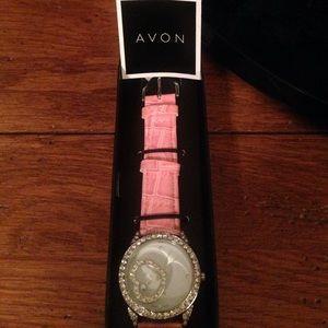 Pink & rhinestone Avon watch