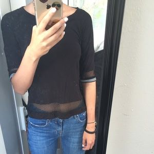 Black mesh half sleeve t shirt
