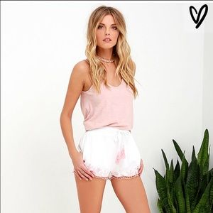 Blush and ivory embroidered shorts by tea and cup