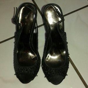 Fergie black heels. Size 6