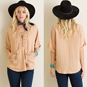 Bare Anthology Tops - Lace Up Short Sleeve Top