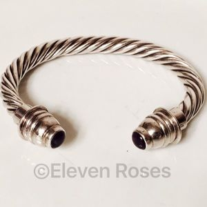 Other - Sterling Amethyst Bullet Tip Cable Cuff Bracelet