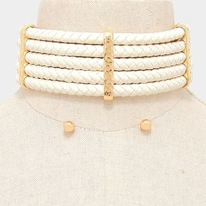 Woven leather choker necklace