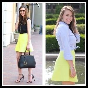 j. crew // fluted skirt double crepe • neon yellow