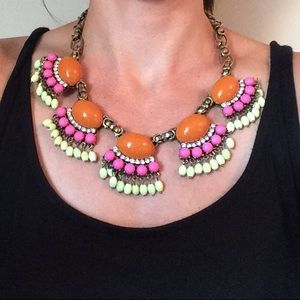 Pink, Orange and Neon Green Statement Necklace