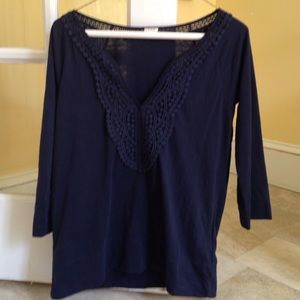 J Crew navy shirt with neck detailing, S