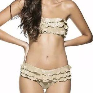 OndadeMar Other - ONDADEMAR Gold Resort Style Bikini Ruffle Bandeau