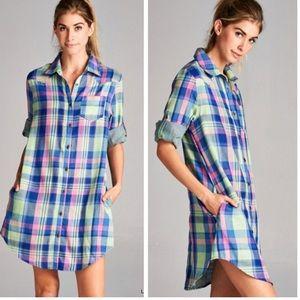 •plaid shirt dress•