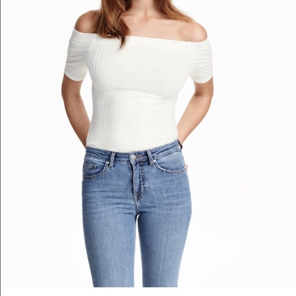 a59c0f8f765158 NWT💫(IN BLACK) H M Ribbed Off-The-Shoulder Top💫