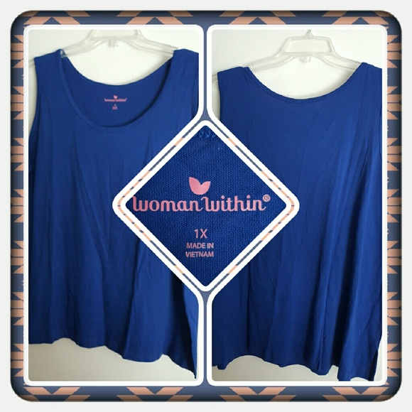 Woman Within Tops - 💙 NWOT Woman's Royal Blue Tank Size 1X 💙