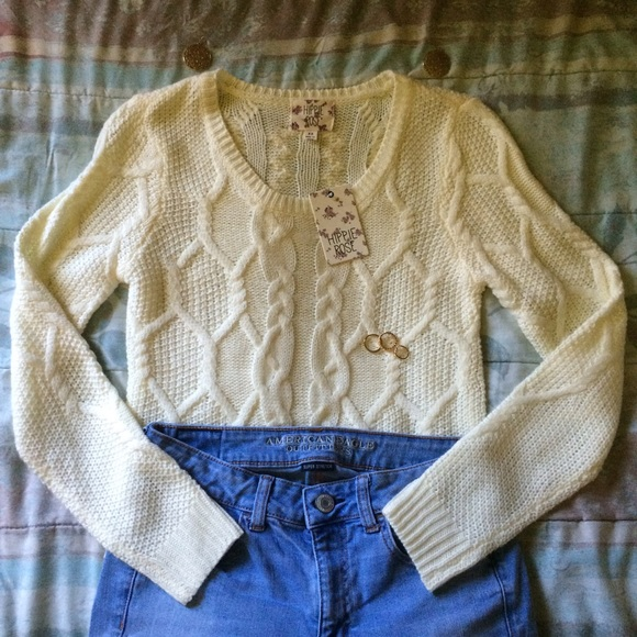 60% off Hippie Rose Sweaters - Hippie Rose - Cute Cream Cable-Knit ...