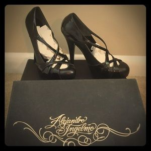 Alejandro Ingelmo Shoes - NEW! Patent strappy high heels, black leather