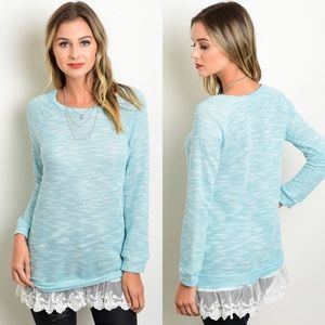 CLEARANCE Mint Blue & Ivory Lace Hem Sweater