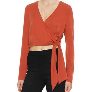 Intermix Tops - Intermix Whitney Wrap Tie Front Orange Crop Top