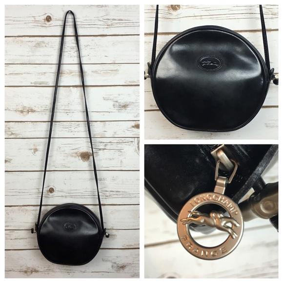 Longchamp Bags Vintage Leather Crossbody Bag Round Poshmark