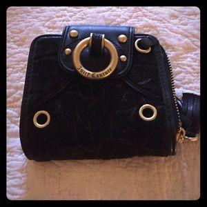 Juicy couture black velvet/gold hardware wallet