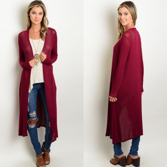 80% off Boutique Sweaters - 🎉CLEARANCE🎉Burgundy Long Sweater ...