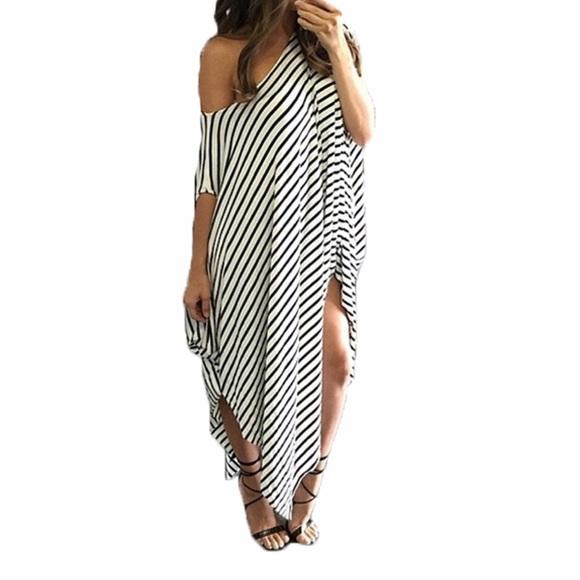 147c530354 Dresses | Hp Striped Off The Shoulder Kaftan Maxi Dress | Poshmark
