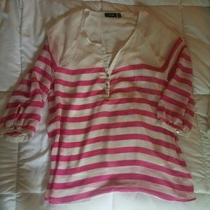 White with pink stripe sheer top