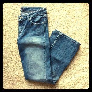 Levi's 518 super low flare denim jeans. Size 9 S/C