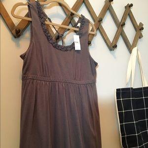 Loft tie back gray sleeveless dress