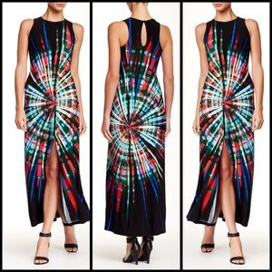 Maggy London Dresses & Skirts - Psychedelic Print Black Maxi Dress