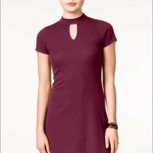 high neck a line swing dress