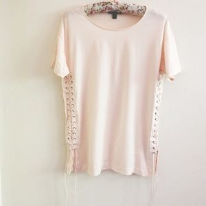 J. Crew Tops - J.Crew Pink Lace Up Tunic T Shirt