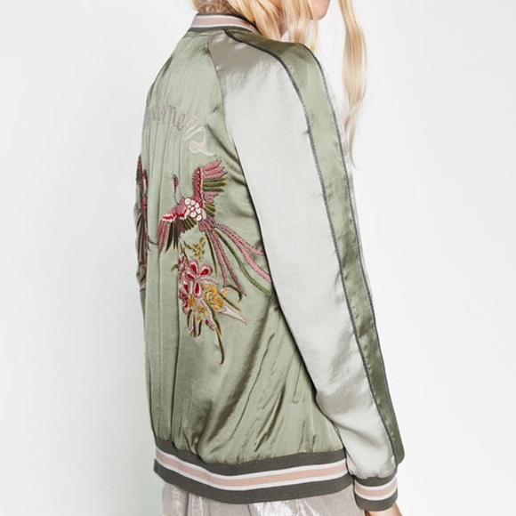 29938da83 🆕 Zara (TRF) Bird Embroidered Bomber Jacket Boutique
